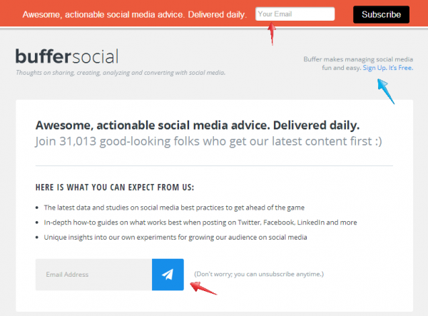 6 Tactics to Boost Your Email Marketing image Buffer Email SignUp e1409426293241