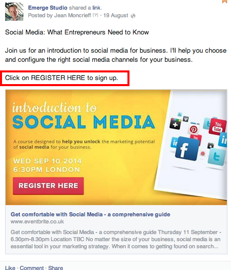 10 Facebook Marketing Tips for Business Owners and Entrepreneurs image Emerge Studio FB CTA Register