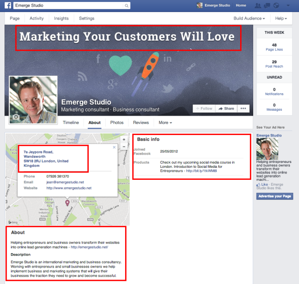 10 Facebook Marketing Tips for Business Owners and Entrepreneurs image Emerge Studio FB Page 600x570