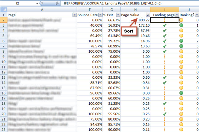 content data in excel