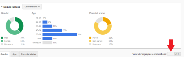 AdWords Quietly Launches New Demographics Targeting Tab image google adwords view demographic combinations 600x186