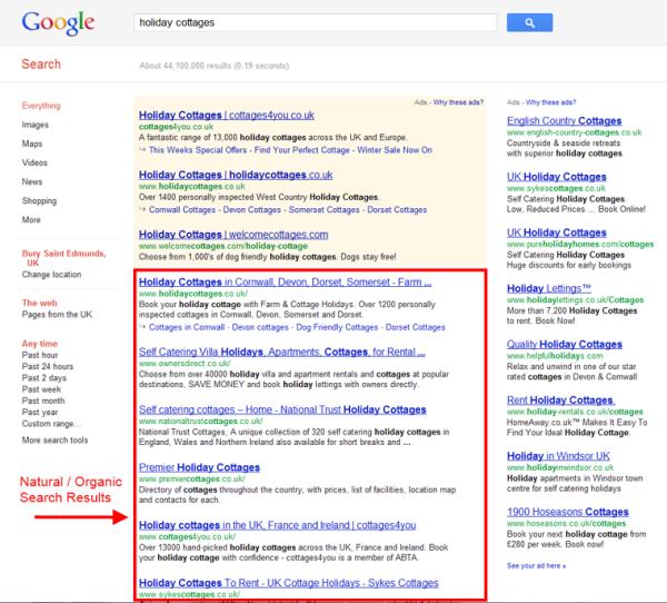 Small Business SEO image google organic listings 600x542
