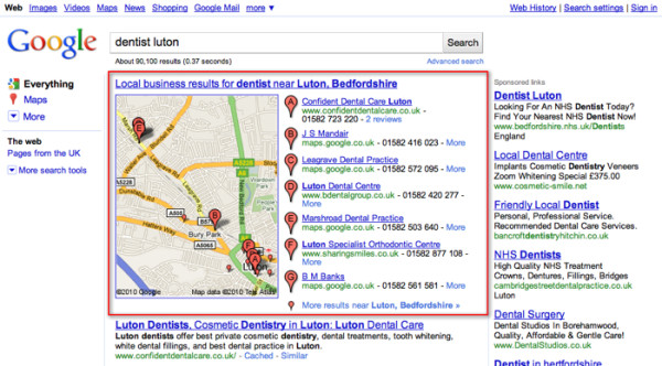 Small Business SEO image google places listings 600x332