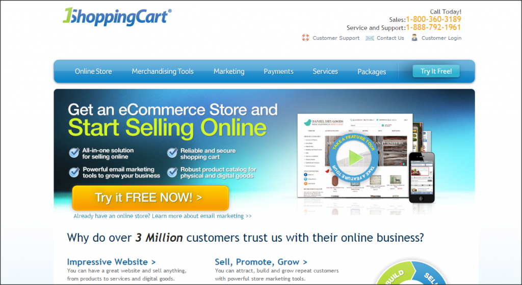 16 Online Shopping Cart Solutions For Small Businesses image 1shoppingcart 1024x560.png