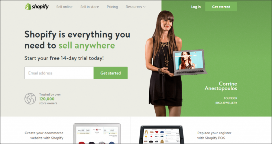 16 Online Shopping Cart Solutions For Small Businesses image Shopify 1024x542.png 900x476