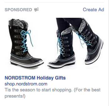 Drive Traffic Back To Your Website, Facebook Style image Nordstrom Facebook Remarketing Ad.png