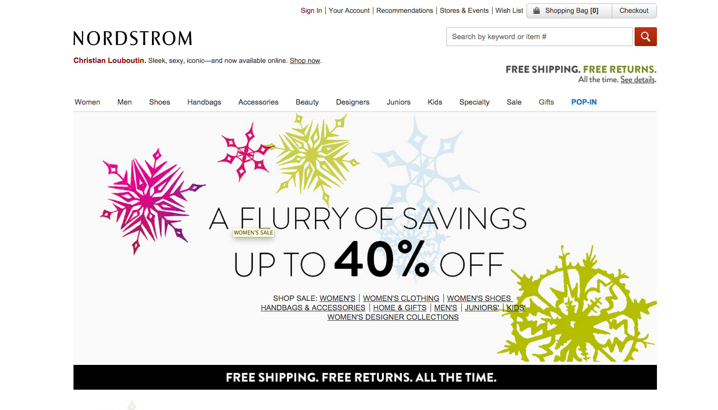 Drive Traffic Back To Your Website, Facebook Style image Nordstrom site home page.png