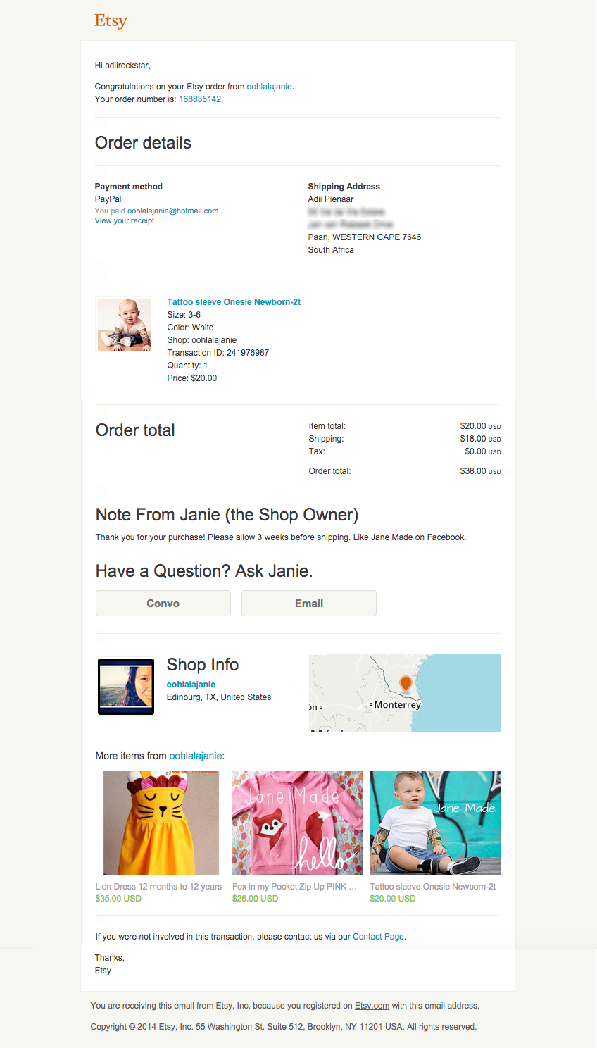 Etsy Email Receipt
