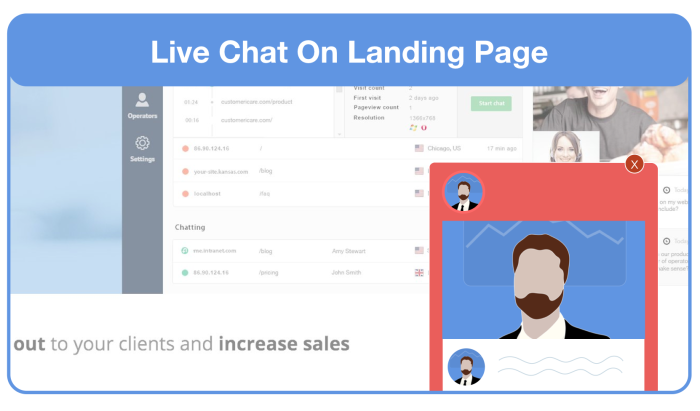 add live chat on landing page for feedback