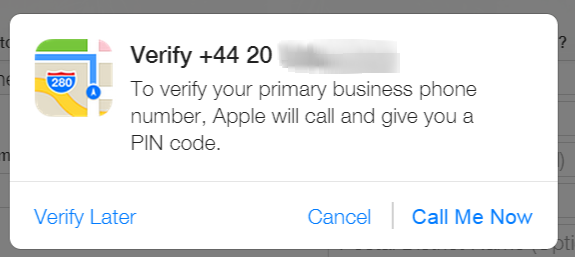 Phone verification on Apple Maps Connect