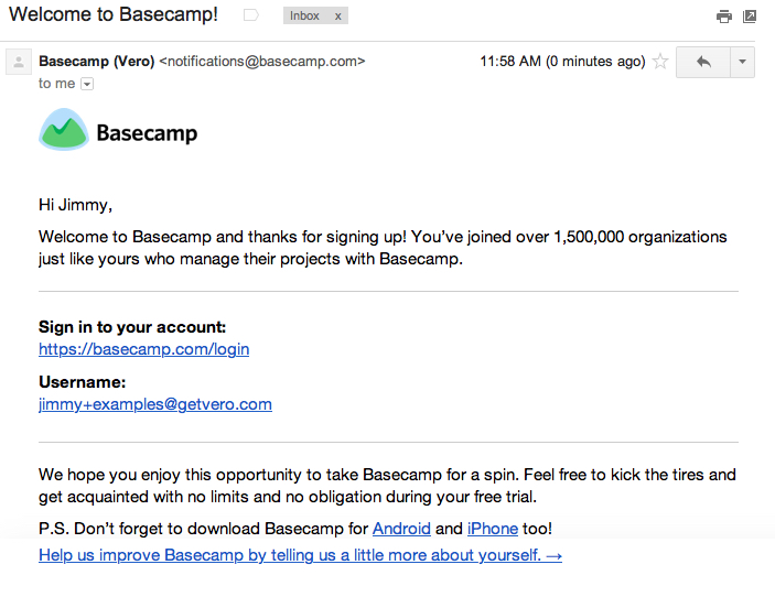 basecamp welcome email