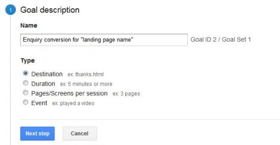 Introduction to using Goals in Google Analytics   goaldescription 550x286
