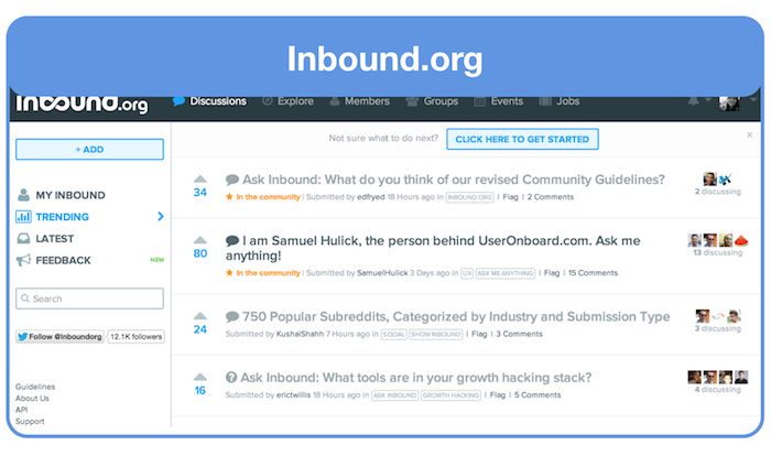 Inbound.org ask for feedback about landing page group