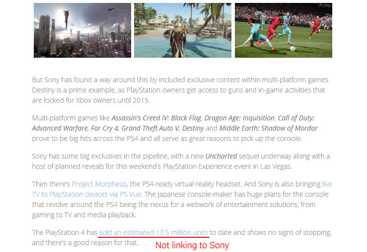 This is a screen captured from BSN - a popular news site for gamers. Note that the author is linking to Game Spot as the news source instead of the original Sony