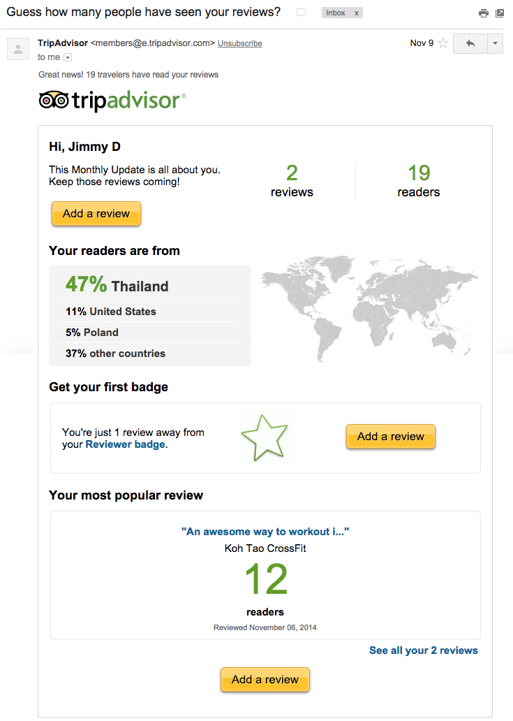 How To Send Behavioral Emails That Will Boost Your Conversions image trip advisor email.jpg