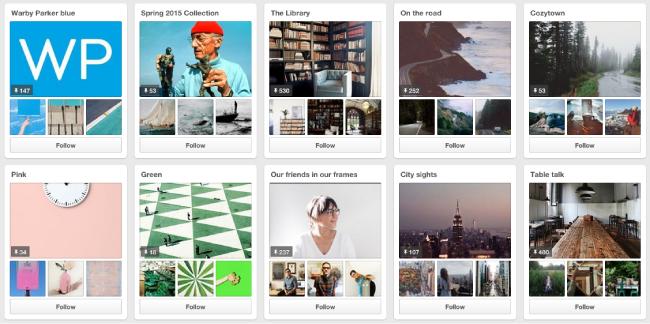 Warby Parker Pinterest Content
