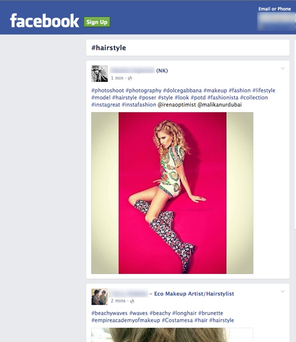 facebook hashtags linked on google