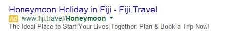 PPC ad headlines honeymoon ad example