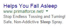 PPC ad headlines sleep aid ad