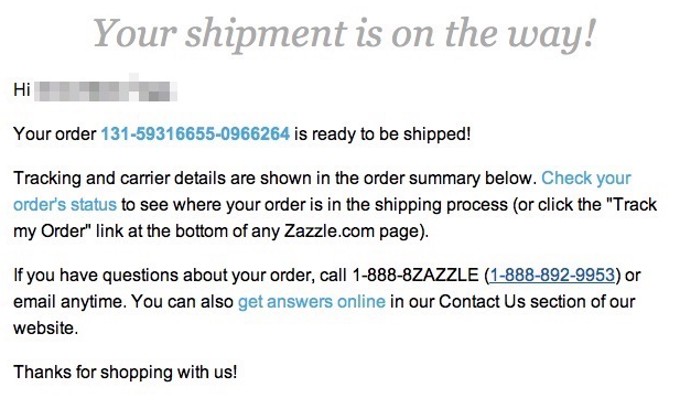 zazzle shipping email