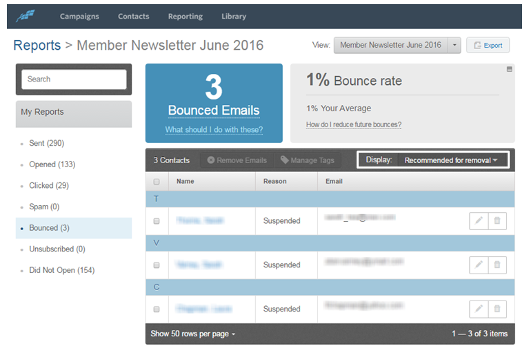 6 Reasons Emails Bounce (And What You Can Do to Improve Your Bounce Rate) constant contact email bounce report example