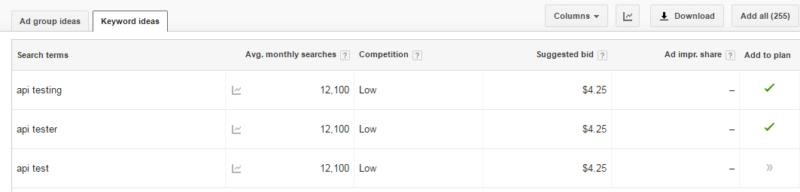 Google Keyword Planner for api test