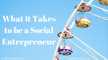 'What it Takes to be a Social Entrepreneur' A social business requires a social entrepreneur. What is a social entrepreneur and do you have what it takes to be one? After reading this blog, you should be able to answer those two questions. Read the blog at http://bit.ly/SocialEntrepren