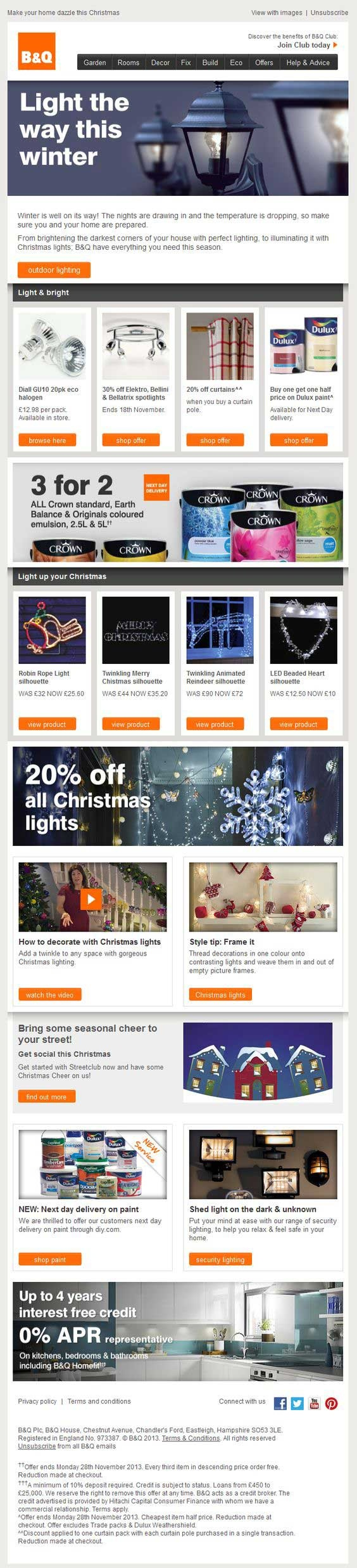 B&Q static email example