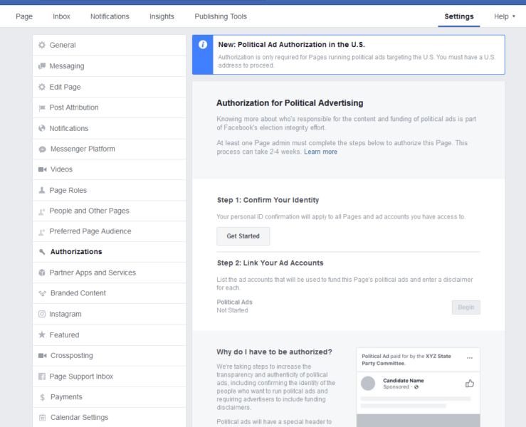 Facebook opens Authorization tab in Page settings for advertisers running political ads