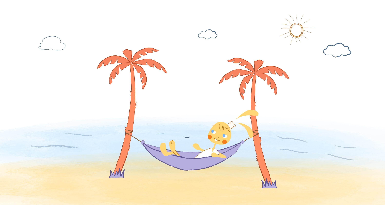 entrepreneur on the beach relaxing
