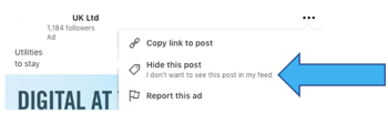 How To Hide Adverts In Your LinkedIn Home Page Feed