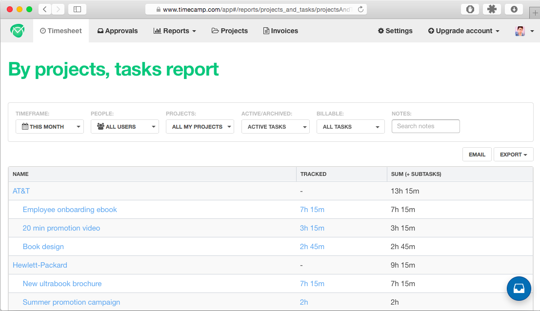 Tasks report in TimeCamp, showing time tracked per task on multiple projects