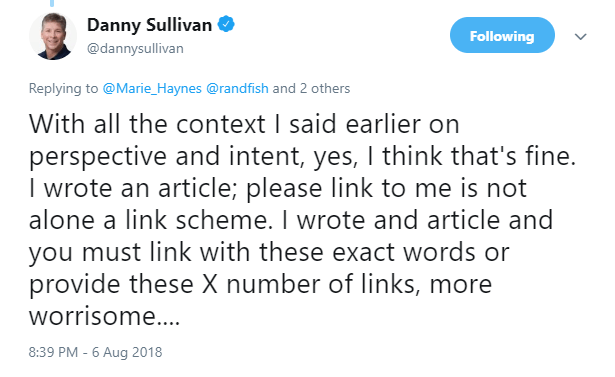 This SEO nerd says its OK to ask for links
