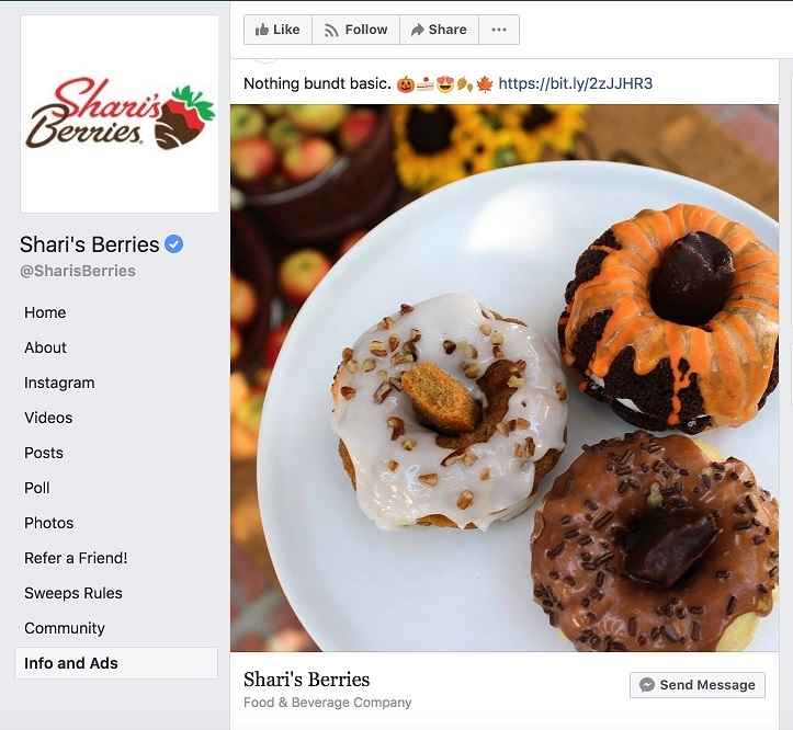 Facebook ad transparency ecommerce strategy Sharis Berries page