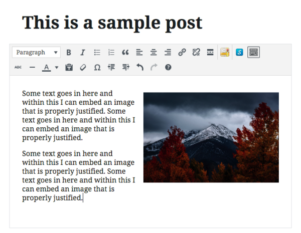 Images in a Classic Block in Gutenberg