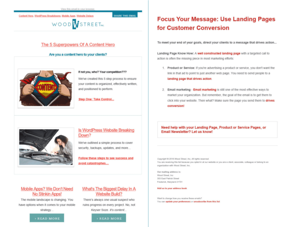 email newsletters - wood street