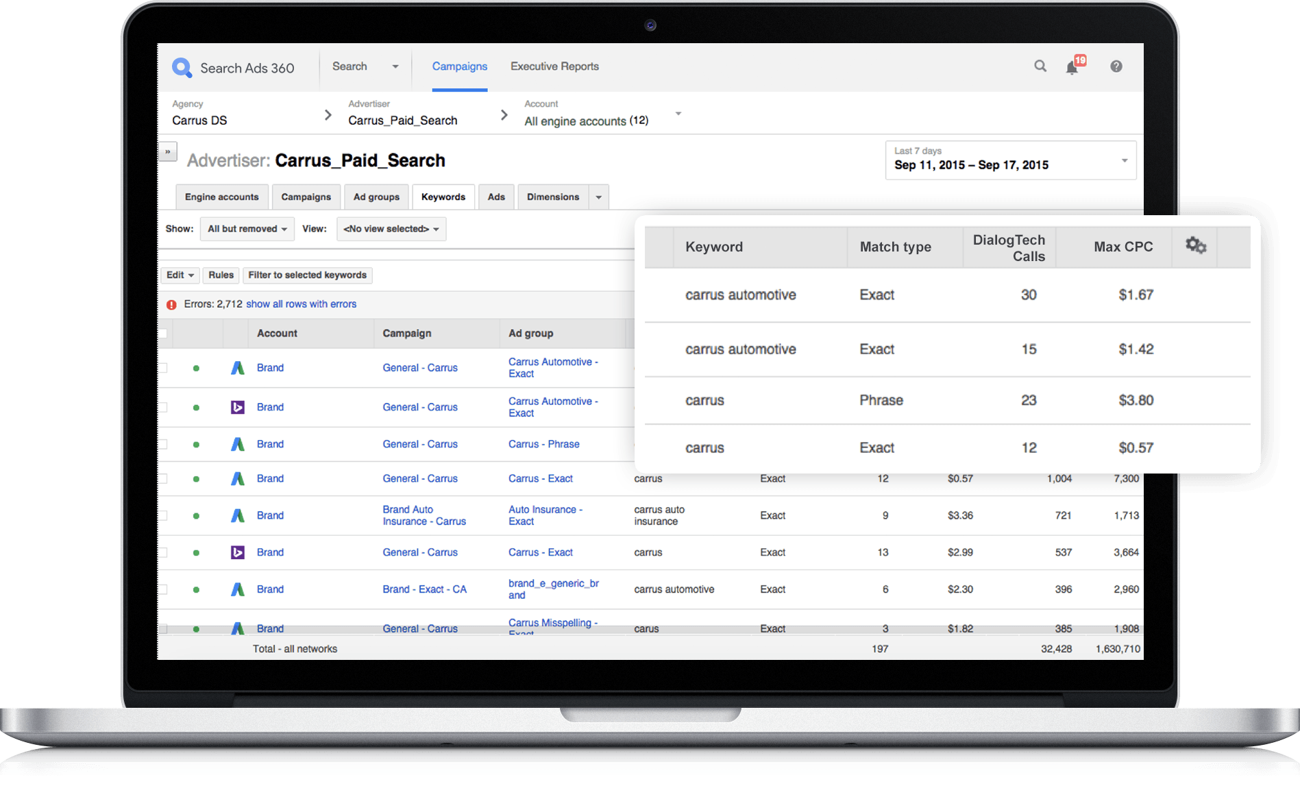 Call data in Google Marketing Platforms Search Ads 360
