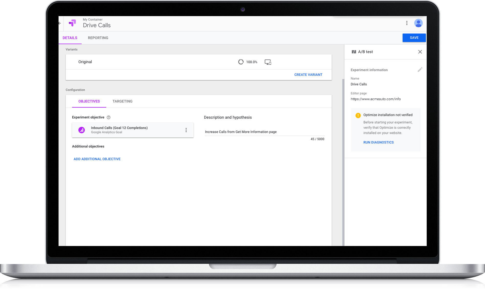 Call Data in Google Marketing Platforms Optimize 360