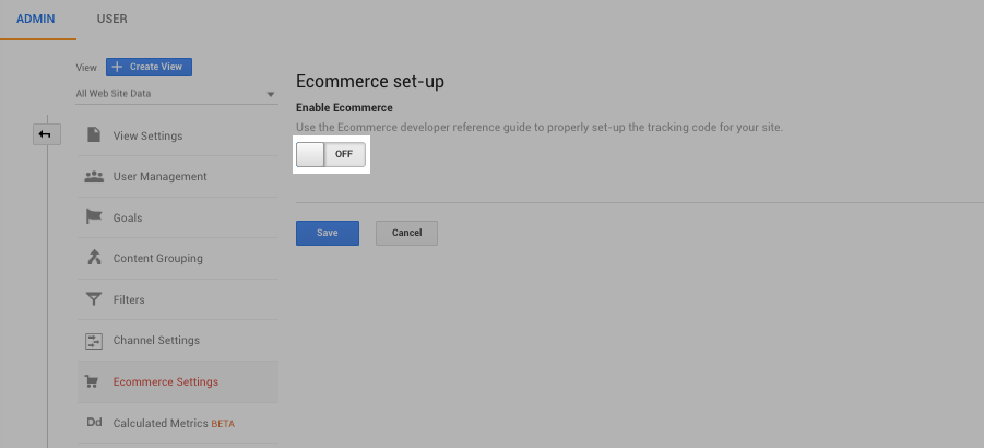 setting up eCommerce analytics tracking for shopify
