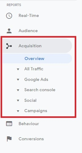 acquisition reports on google anyltics