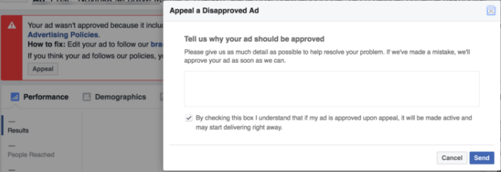 appeal a disapproved ad from Ads manager