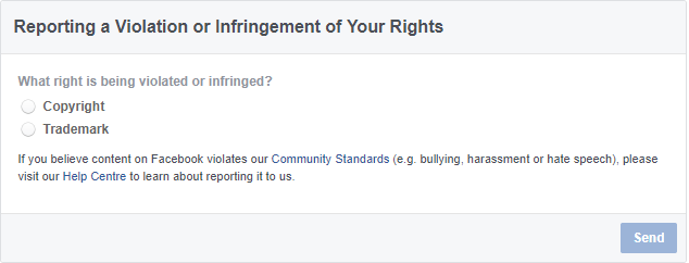 contact facebook about copyright or trade mark violations