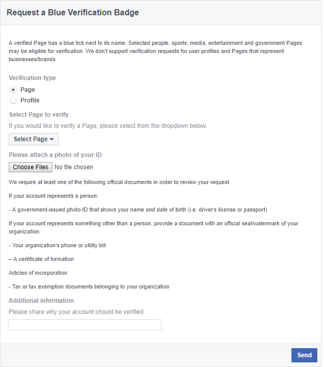 contact Facebook about Facebook Page verification