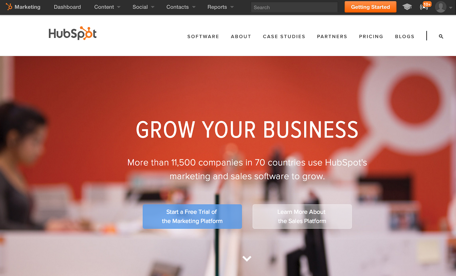old hubspot homepage