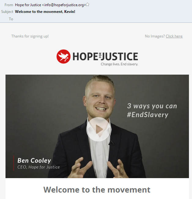 Hope for Justice email subject lines