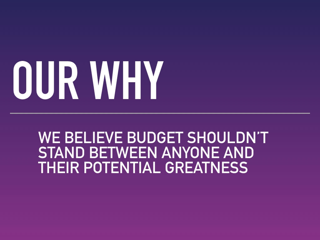 Our why — we believe budget shouldnt stand between anyone and their potential greatness. Writing a great elevator pitch means baring your soul a bit and showing the world why you care and why what you do matters to them. Learn more.