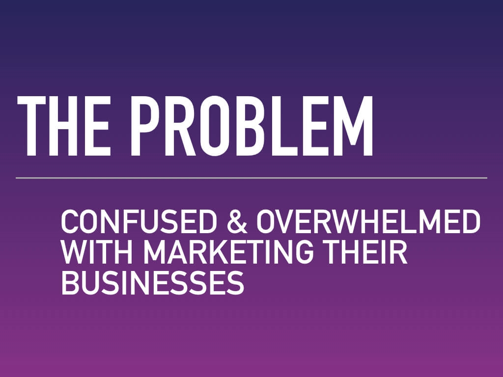 The problem — confused and overwhelmed with marketing their businesses.