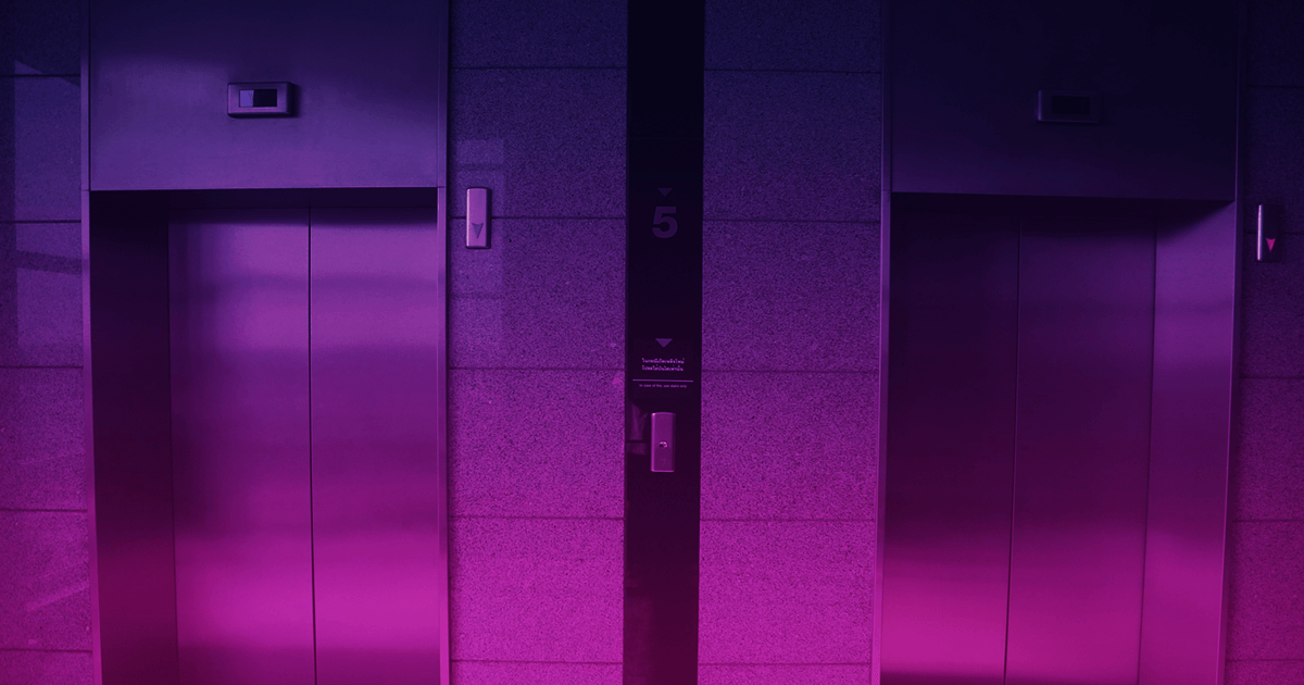 Two elevators with a purple gradient overlaid. Writing an elevator pitch is tough, but if you follow these guidelines, youll end up with an elevator pitch that rocks.