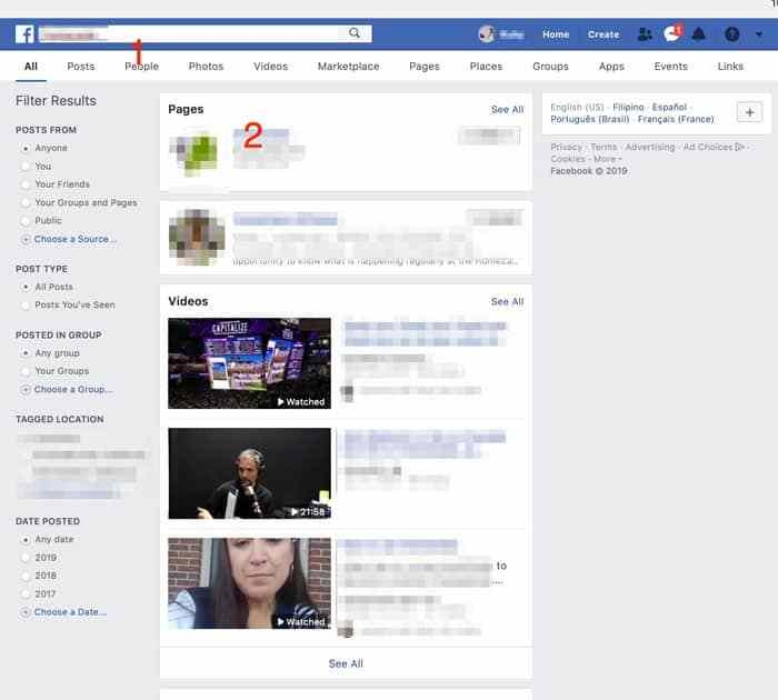 find page to search likes