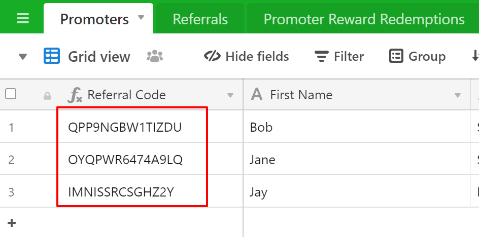 Referral Tracking Spreadsheet Promoters Airtable Referral Code generator